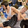 (Brad Davis/The Register-Herald) Independence's Christian Meador takes on Princeton's Hunter Powell in a 152-pound weight class matchup Saturday afternoon at Shady Spring High School. Indy's Meador would win the match.