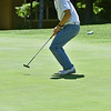 (Brad Davis/The Register-Herald) Landon Perry reacts as his birdie putt on 16 breaks left and finds the hole during BNI action Sunday afternoon at Glade Springs' Stonehaven Golf Course.