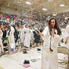 Fayetteville High School senior Hannah Franklin sprays classmates with silly string as others do the same following their graduation during the 2017 Fayetteville High School Commencement at the Soldiers & Sailors Memorial Building in Fayetteville Friday. (Chris Jackson/The Register-Herald)