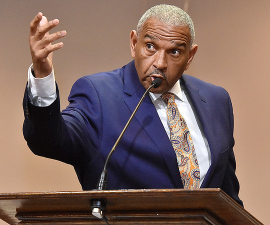 (Brad Davis/The Register-Herald) Miller Hall, one of a handful honored during the event, speaks during Heart of God Ministries' Black History Month celebration Sunday evening.
