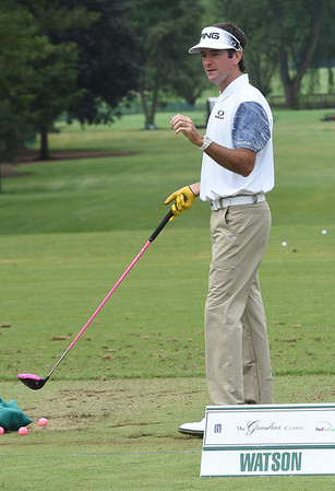 Bubba Watson practicing on the driving range preparing for The Greenbrier Classic at The Greenbrier in WHite Sulphur Springs.<br /> (Rick Barbero/The Register-Herald)