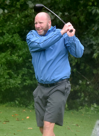 (Brad Davis/The Register-Herald) Steve Davis tees off on #8 during BNI action Saturday afternoon at Grandview Country Club.