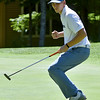 (Brad Davis/The Register-Herald) Landon Perry reacts after nailing a birdie putt on 16 during BNI action Sunday afternoon at Glade Springs' Stonehaven Golf Course.