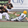 (Brad Davis/The Register-Herald) Miners baserunner Colby Johnson gets the steal at 2nd base as Kokomo shortstop Ian Walters can't hang on to the throw Friday night at Linda K. Epling Stadium.