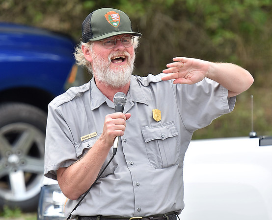 (Brad Davis/The Register-Herald) The National Park Service's Richard Altare delivers a presentation on water safety during the Safety on The Blue event Sunday afternoon at Bluestone Lake.