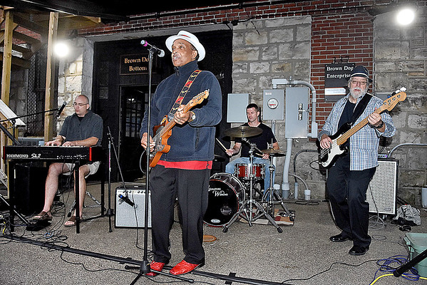 """(Brad Davis/The Register-Herald) Blues legend Johnny Rawls performs with bandmates Adam Sheets on keyboard, Kevin Neel on drums John Lohse on bass during the Simply Jazz and Blues Festival's """"Blues Block Party"""" at the Beckley Underground Saturday evening."""