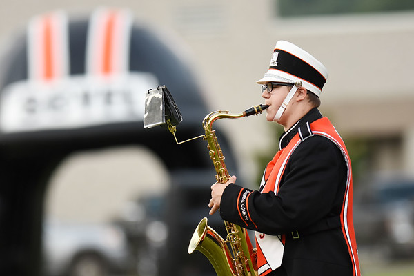 A member of the Summers County marching band plays during their high school football game Friday in Hinton  (Chris Jackson/The Register-Herald)