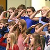 "Third grade class sang ""I Love My Country"" during a Vereran's Day program held at Lester Elementary School Wednesday afternoon.<br /> (Rick Barbero/The Register-Herald"
