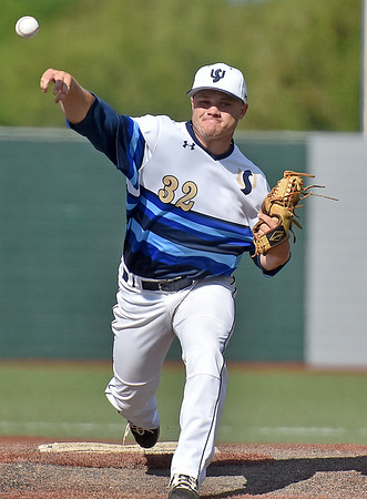 (Brad Davis/The Register-Herald) Shepherd starting pitcher Ryan Pansch delivers against West Virginia Wesleyan during Mountain East Conference Tournament action Saturday afternoon at Linda K. Epling Stadium.