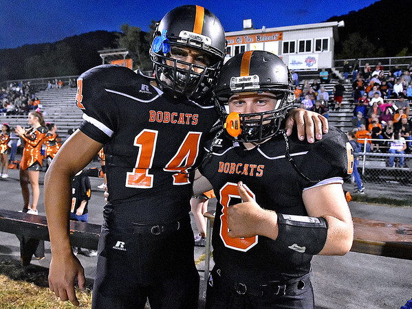(Brad Davis/The Register-Herald) Summers County's Christian Pack, left, and Marcus McGuire are ready to go prior to their home game against Indy Friday night in Hinton.