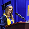 (Brad Davis/The Register-Herald) Nicholas County senior class president Katelyn Simms speaks during the school's 103rd Commencement Ceremony Sunday afternoon at the Summersville Arena