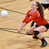 (Brad Davis/The Register-Herald) Greater Beckley Christian's Abigail Hill returns the ball against Ravenswood Saturday afternoon in Prosperity.