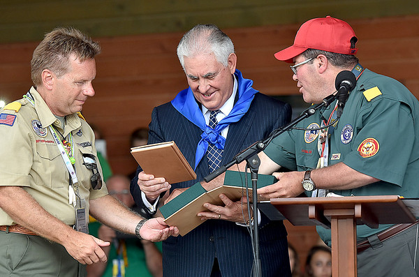 (Brad Davis/The Register-Herald) Scouts present United States Secretary of State Rex Tillerson with gifts during Friday's ceremony at the Bechtel Summit Reserve.