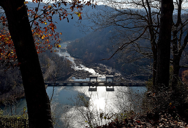 (Brad Davis/The Register-Herald) The Hawks Nest Dam along the New River from above November 16.
