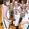(Brad Davis/The Register-Herald) Wyoming East with the championship trophy after defeating St. Albans in the Big Atlantic Classic at the Beckley-Raleigh County Convention Center February 4.