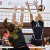 (Brad Davis/The Register-Herald) Shady Spring's Peyton Wiseman, right, and Bradlea Hayhurst scramble to block a blast from Greenbrier East's Taylor Dunbar Maddie Cochran during the Shirley Brown Invitational Volleyball Tournament Saturday afternoon at Woodrow Wilson High School.
