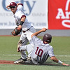 (Brad Davis/The Register-Herald) Concord shortstop Chad Frazier forces out Fairmont State's Ben Myers as the Mountain Lions turn a double play during a 12-6 loss to the Fighting Falcons in the Mountain East Tournament Thursday evening at Linda K. Epling Stadium.