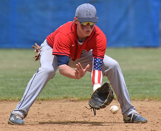 (Brad Davis/The Register-Herald) Independence shortstop Fisher Horton fields a ground ball against Princeton during the Jeff Treadway Memorial Wooden Bat Tournament Saturday afternoon in Coal City.