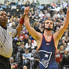 (Brad Davis/The Register-Herald) Independence's Connor Gibson waves to fans and family in the stands after winning his 145-pound weight class championship match against Berkeley Springs' Davy Mundey during the 70th Annual WVSSAC State Wrestling Tournament Saturday night at the Big Sandy Arena in Huntington. Indy's Taylor won the match.
