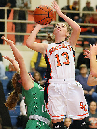 (Brad Davis/The Register-Herald) Summers County's Hannah Taylor against Charleston Catholic January 14 in Hinton.