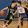(Brad Davis/The Register-Herald) Shady Elite's Brady Green dribbles behind his back to avoid Ward 5 Warriors defender (Washington, D.C.) Braden Hawthorne during biddy buddy action Saturday.