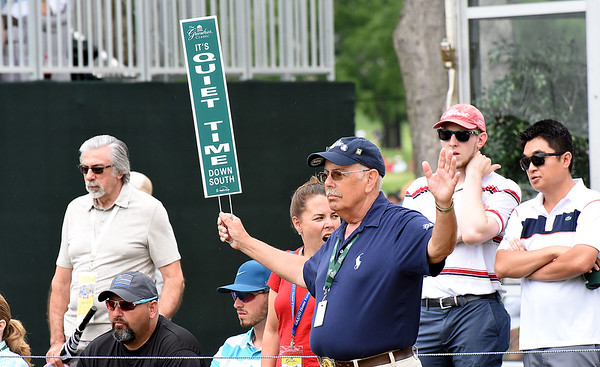 Spectators watching play from the 17th green during the first round of The Greenbrier Classic.<br /> (Rick Barbero/The Register-Herald.com
