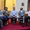 (Brad Davis/The Register-Herald) Dr. Shimantini Shome (2nd from left), a cultural geographer,  answers a question from the audience as part of a panel of area leaders that included (from left) Joan C. Browning, one of the Albany Freedom Riders of the 1960's civil rights struggle, Andrew Schneider, executive director of Fairness West Virginia, Bishop David Allen, pastor of Beckley's Welcome Baptist Church and president of the Ministerial Alliance and Robert Dunlap, local attorney and president of the Beckley Gay and Lesbian Community Center following a candlelight vigil for peace and unity at St. Stephens Episcopal Church Wednesday night.