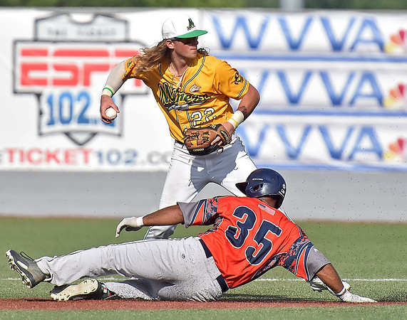 (Brad Davis/The Register-Herald) Miners shortstop John Hagan forces out Chillicothe baserunner Peyton Newsom at 2nd during a loss to the Paints Sunday afternoon at Linda K. Epling Stadium.