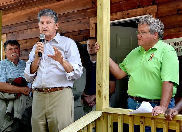 (Brad Davis/The Register-Herald) Senator Joe Manchin speaks during the opening ceremony for the new Brad Paisley Park Friday afternoon in White Sulphur Springs.