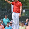 (Brad Davis/The Register-Herald) Jamie Lovemark has to drop during final round Greenbrier Classic action Sunday afternoon in White Sulphur Springs.
