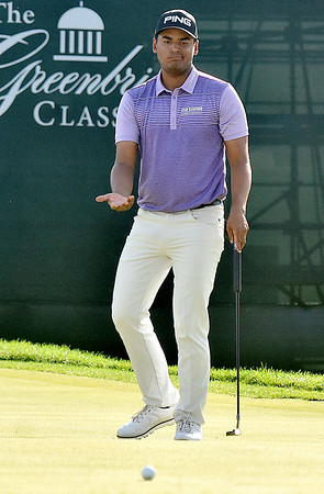 (Brad Davis/The Register-Herald) Sebastian Munoz reacts as his ball refuses to cooperate and misses birdie on #18, giving the Greenbrier Classic to Xander Schauffele Sunday afternoon in White Sulphur Springs.