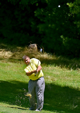 (Brad Davis/The Register-Herald) David Crone off in the distance during BNI action Sunday afternoon at Glade Springs' Stonehaven Golf Course.