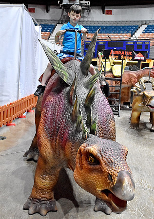 (Brad Davis/The Register-Herald) 8-year-old Bluefield resident Niko Parks takes a ride on a giant automated dinosaur during a two-day weekend event called T-Rex Planet Sunday afternoon at the Beckley-Raleigh County Convention Center.