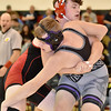 (Brad Davis/The Register-Herald) Oak Hill's Moses Truman takes on Riverview's Skylar Payne in 182-pound weight class matchup during the Raider Rumble Saturday afternoon in Glen Daniel. Oak Hill's Truman would pin Payne to win the match.