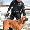 (Brad Davis/The Register-Herald) Sgt. R.R. White handles Bodi as Raleigh County Sheriffs introduce their four new K-9 units during a media visit to their Eisenhower Drive station Wednesday afternoon.