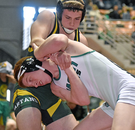 (Brad Davis/The Register-Herald) Greenbrier East's Jacob Thomas takes on Mason's (Ohio) Eric Vermillion in a 182-pound weight class matchup during the West Virginia Army National Guard Duals Saturday afternoon at the Beckley-Raleigh County Convention Center. Mason's Vermillion would win the match.