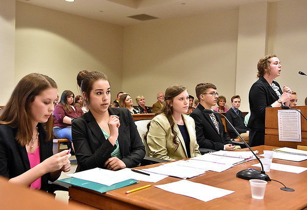 (Brad Davis/The Register-Herald) The prosecution team looks on as the defense examines a witness a mock trial with middle and high homeschoolers from the Appalachian Christian Academy in Raleigh County Ciruit Court Monday afternoon.