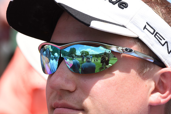 Daniel Bost, of Lynchburg, Va. watching play fro the 8th hole during the second round of The Greenbrier Classic.<br /> (Rick Barbero/The Register-Herald)