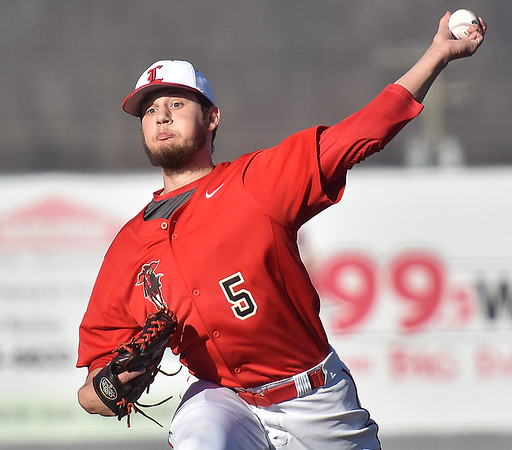 (Brad Davis/The Register-Herald) Liberty starting pitcher Trenton Begley delivers during the Raiders' game against Nicholas County Wednesday evening at Linda K. Epling Stadium.