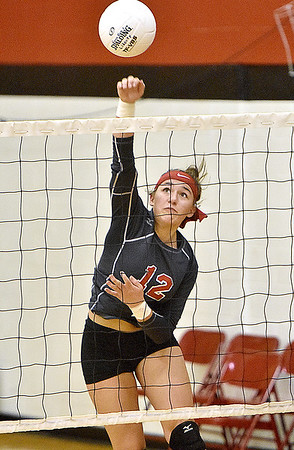 (Brad Davis/The Register-Herald) Liberty's Morgan Marty during a volleyball match against Fayetteville at Liberty High School October 11.