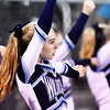 Meadow Bridge cheerleaders perform during their football game against Webster County Friday in Meadow Bridge. (Chris Jackson/The Register-Herald)