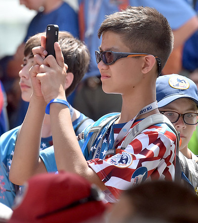 (Brad Davis/The Register-Herald) Scouts try to get pictures as United States Secretary of State Rex Tillerson speaks Friday at the Bechtel Summit Reserve.