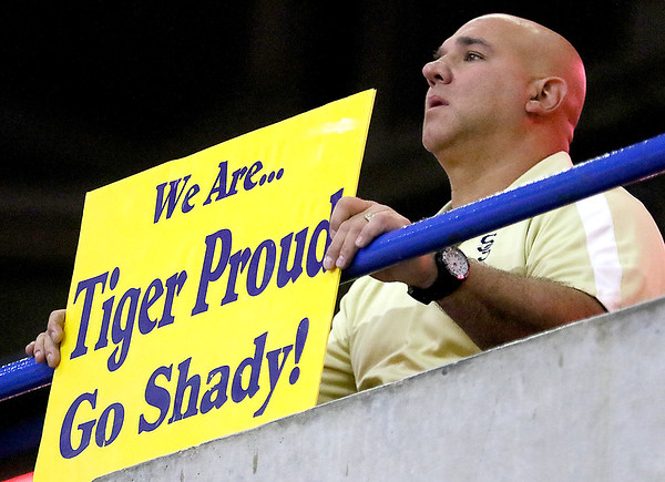 (Brad Davis/The Register-Herald) A Shady Spring family member watches events unfold on the court as the Tigers take on Bridgeport during State Volleyball Tournament action Friday morning at the Charleston Civic Center.
