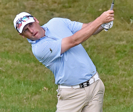 (Brad Davis/The Register-Herald) Sam O'Dell shoots from the fairway during the third round of the West Virginia Amateur Wednesday afternoon at Glade Springs.