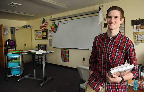 Collin Dingus, senior at Greater Beckley Christian School, won first place in local and regional VFW speech competition about the Constitution. He heads to the state competition next on March 11 in Harrison County.<br /> (Rick Barbero/The Register-Herald)
