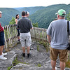 (Brad Davis/The Register-Herald) Some of the first people to get a look from the new Turkey Spur overlooks gawk at the breathtaking scenery following their opening Friday evening at Grandview Park.