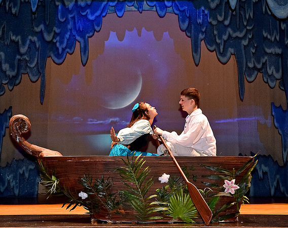 (Brad Davis/The Register-Herald) Young actors rehearse scenes from Woodrow Wilson High School's rendition of Disney's The Little Mermaid Friday afternoon inside the school's auditorium.