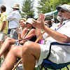 (Brad Davis/The Register-Herald) Smith Mountain Lake, Virginia resident Dave Pope, right, takes in third round Greenbrier Classic action alongside the #17 green Saturday afternoon in White Sulphur Springs.