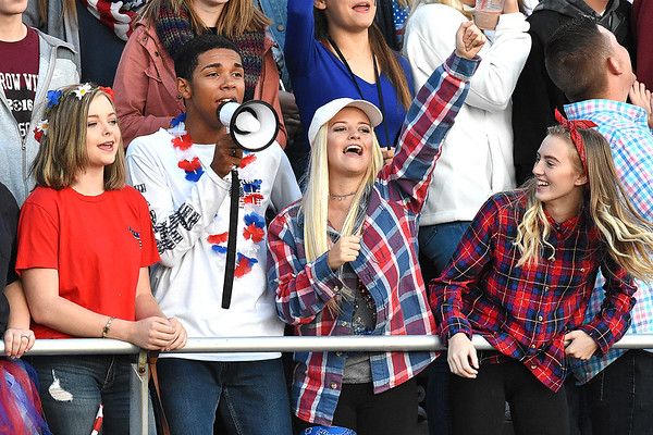 Woodrow Wilson student section celebrate after scoring a touchdown in the second quarter against Bluefield Friday night at Van Meter Stadium in Beckley.<br /> (Rick Barbero/The Register-Herald)