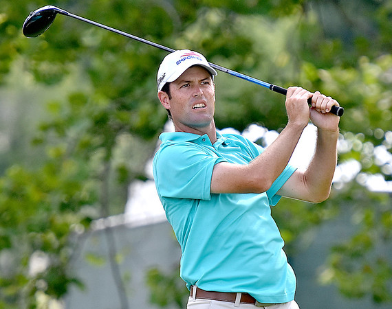 (Brad Davis/The Register-Herald) Robert Streb tees off on #17 during third round Greenbrier Classic action Saturday afternoon in White Sulphur Springs.